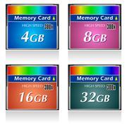Set of CompactFlash memory cards Stock Illustration