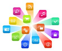 Software concept: cloud of colorful program icons - stock illustration