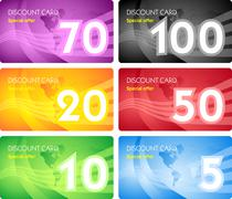 Set of discount card templates - stock illustration