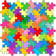 Seamless color puzzles background - stock illustration