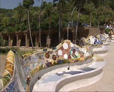Park Guell - Place de la natura or Nature Square, bounded by the dragon bench Stock Footage