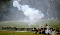 Civil war re-enactment - battle background Stock Photos