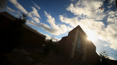 Church With Sun and Clouds Stock Footage