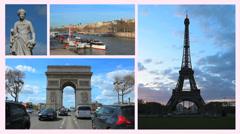Paris Montage. France. Postcard. Eiffel tower, Arc of Triumph, Seine river Stock Footage