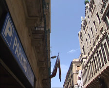 Small street pan main facade Guell Palace, BARCELONA Stock Footage