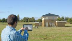 Architect creates a 3D house - stock footage