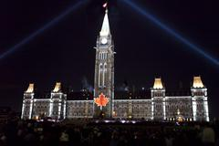 A night view of the Parliament building lit up, Ottawa, Ontario, Canada Stock Photos