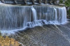 A panoramic view of Rideau Falls, Ottawa, Ontario, Canada - stock photo