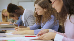 students in a college classroom - stock footage