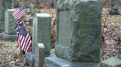 TOMBSTONES and FLAG Stock Footage
