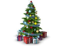 Stock Photo of Christmas tree isolated on white background