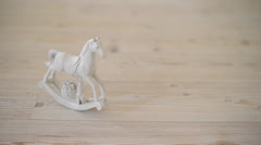 White wooden rocking horse Stock Footage