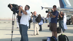 Photographers at the 2013 Dubai Air Show Stock Footage