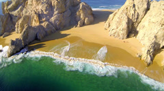 Lovers beach aerial descent in Cabo - stock footage