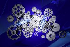 Abstract gears machinery - stock illustration