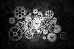 Grunge cog wheels and gears - stock illustration