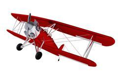 Red old biplane - stock illustration