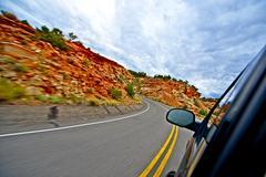 Utah getaway. driving through scenic utah route Stock Photos