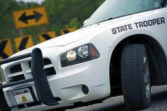 police cruiser state trooper on a highway - stock photo