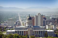 salt lake city panorama and capital building - stock photo