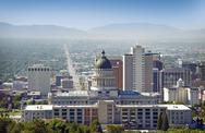 Salt lake city panorama and capital building Stock Photos