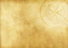 vintage journey background with compass rose - stock illustration