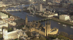 Aerial view of Big Ben and the Houses of Parliament in London Stock Footage
