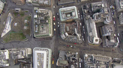 Aerial view of buildings and traffic in the city of London Stock Footage