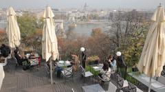Cafe With View of Budapest Stock Footage