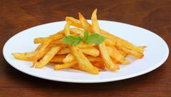 Stock Photo of french fry with mint leaves