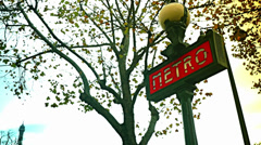 Paris, France - Nov 6th, 2013: Metro symbol in Paris Stock Footage