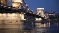 Chain Bridge At Night Budapest Stock Footage