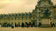 Stock Video Footage of Tourists and Louvre art museum at the Tuileries gardens