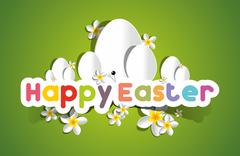 Happy Easter Card With Eggs And Spring Flowers - stock illustration