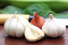 Fresh garlic with onion Stock Photos