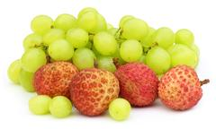 fresh grapes with lychee - stock photo
