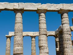 Temple of poseidon in sounio greece Stock Photos