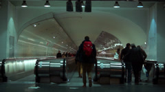 People walking at the Underground station in  Paris Stock Footage