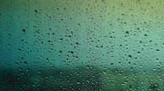 Rain drops on the window glass - stock footage