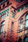 traditional architecture in famous polish city, torun, poland. - stock photo