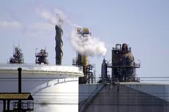 petrochemical industry in marseille - stock photo