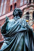 monument of great astronomer nicolaus copernicus, torun, poland - stock photo