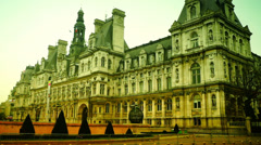 Morning hour in Paris, traffic, in front Hotel de Ville. Stock Footage
