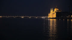 Hungarian Parliament At Night Stock Footage