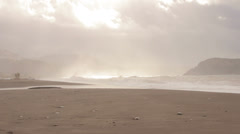 Stormy waves breaking on the beach Stock Footage