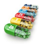 Dietary supplements. variety pills. vitamin capsules. Stock Illustration
