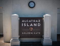 alcatraz island golden gate clock in san francisco, usa - stock photo