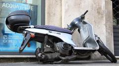 Vandalised stolen scooter Stock Footage