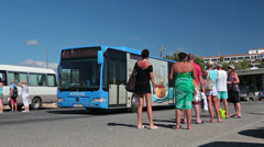 Bus waiting for departure at last stop on Coral Bay beach, Paphos, Cyprus Stock Footage