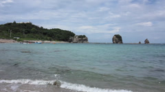 Right Pan of Shirahama Japan Beach Stock Video Stock Footage